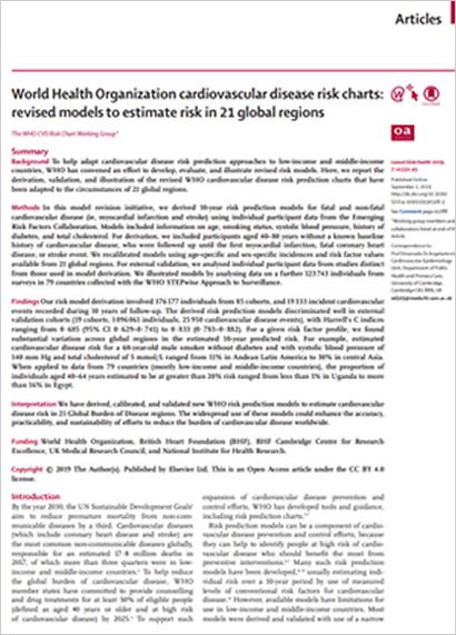 World Health Organization cardiovascular disease risk charts: