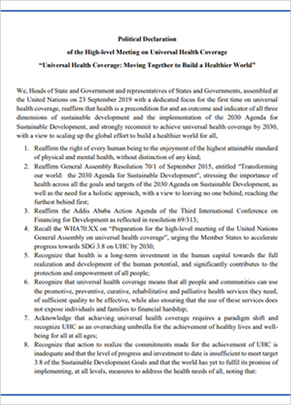 1Political Declarationof the High-level Meeting on Universal Health Coverage