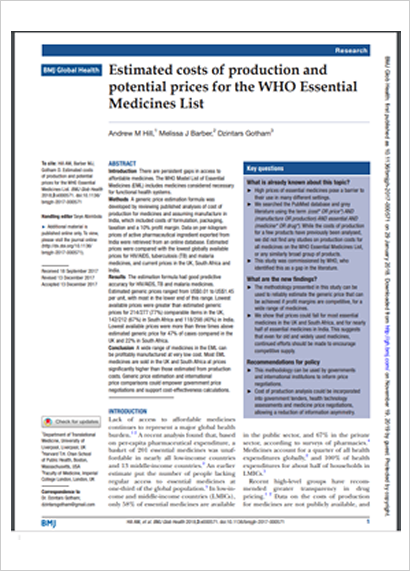 Estimated costs of production and potential prices for the WHO Essential MedicinesList