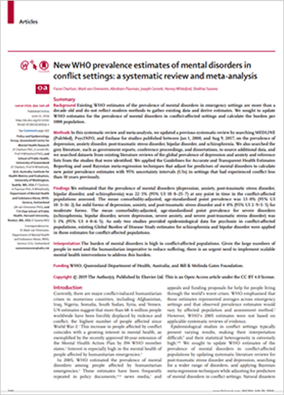 Mental illness in 1 in 5 conflict areas